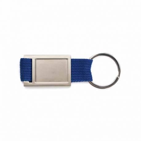 Llavero de metal con cinta de poliester, color azul